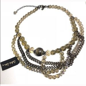 Cookie Lee Statement Necklace Beads Gunmetal
